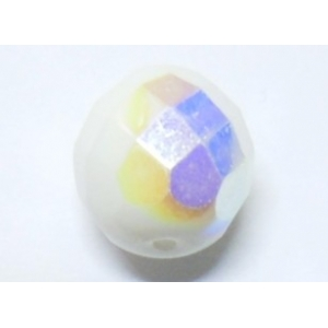 Faceted Glass Ball 10mm - Opaque White AB