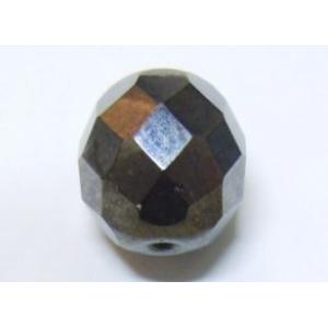 Faceted Glass Ball 12mm - Hematite
