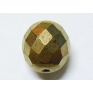 Faceted Glass Ball 10mm - Antique Gold