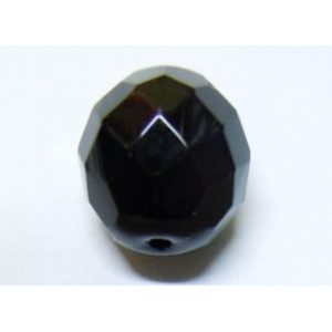 Faceted Glass Ball 14mm - Black