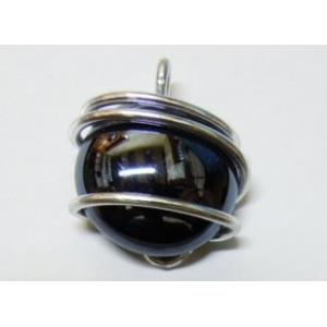 Glass Pendant - Aluminium Wire