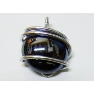 Glass Pendant - Aluminium Wire