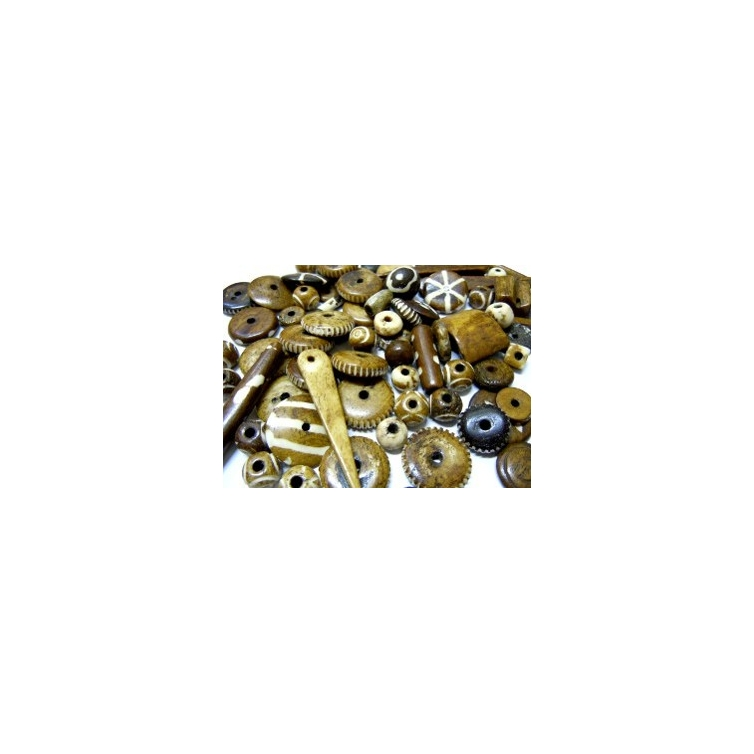 Mixture Of Bone Beads - Light Brown